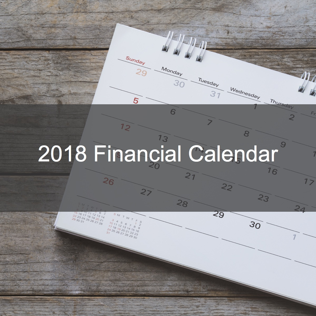 2018 Financial Calendar